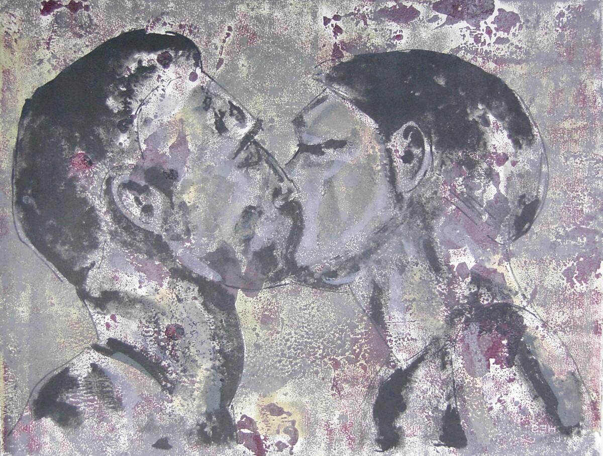 1997_The kiss, lithography on monoprint, 50*65 cm - Dirk Mutsaerts