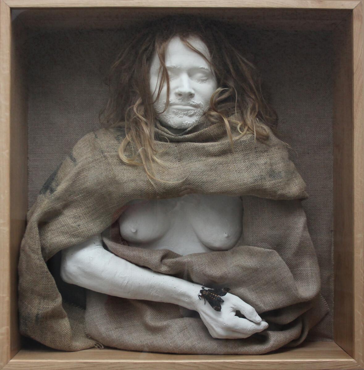 2021.1, mixed media: gypsum, jute, butterfly, oak, human hair, 70*70 cm - Dirk Mutsaerts